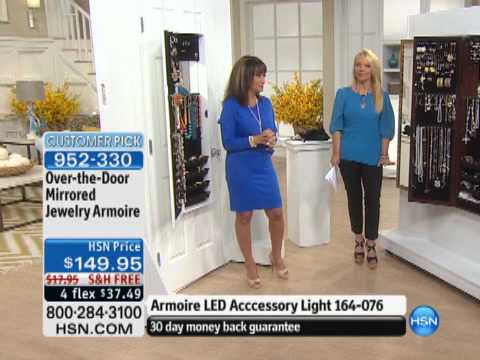 Over The Door Mirrored Jewelry Armoire Youtube