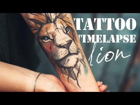 Coil & Rotary - Tattoo Timelapse - Watercolor Lion