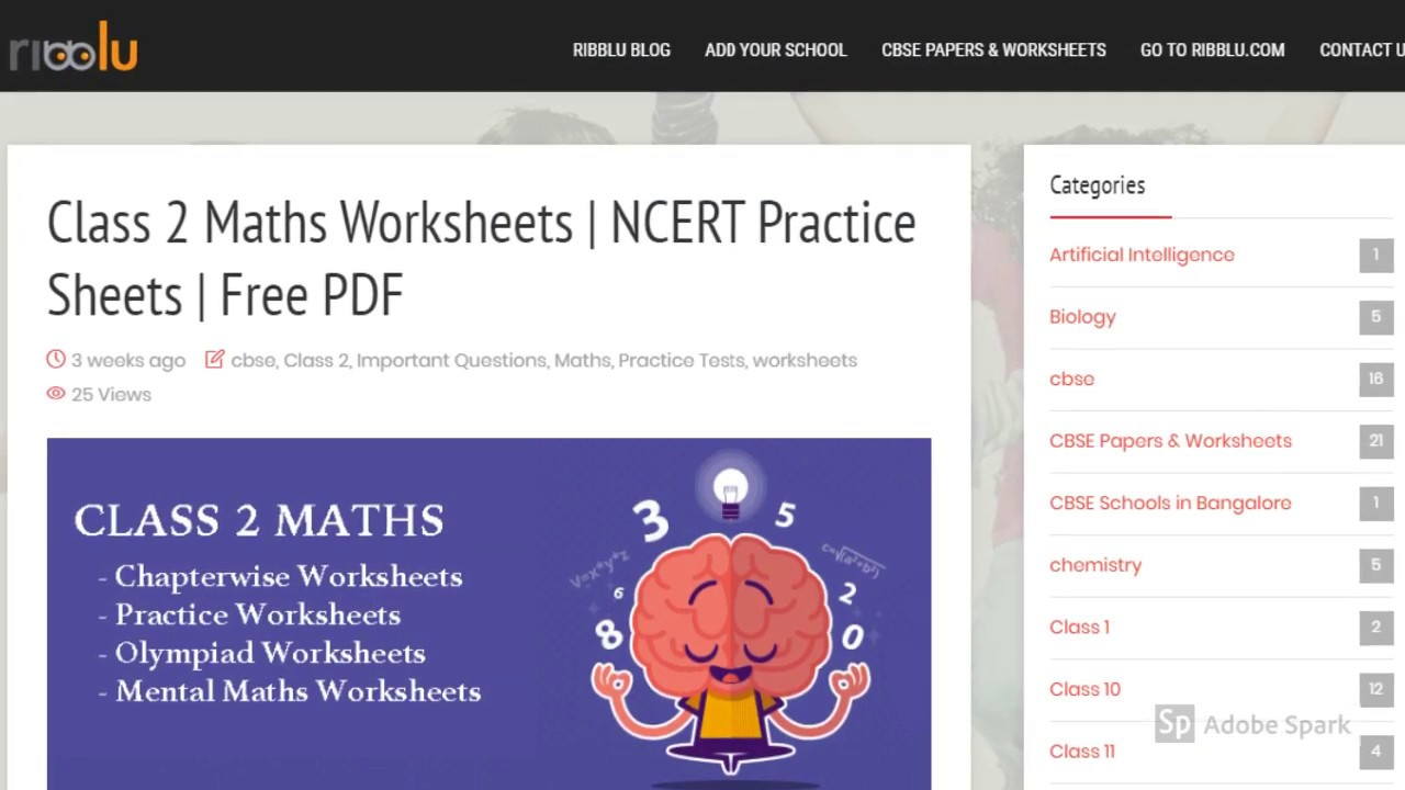 Class 2 Maths Worksheets Ncert Practice Sheets Youtube