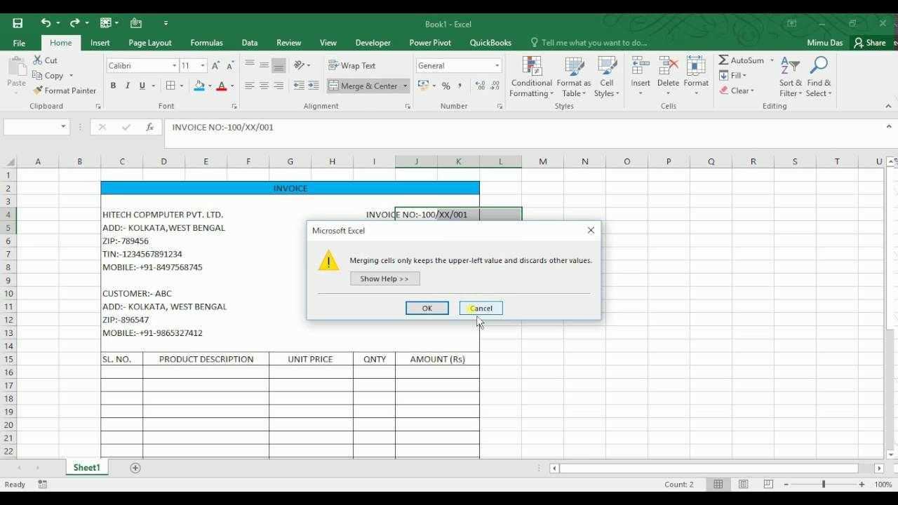 Make Invoice In Excel In A Simple Way YouTube - How to make invoice in excel