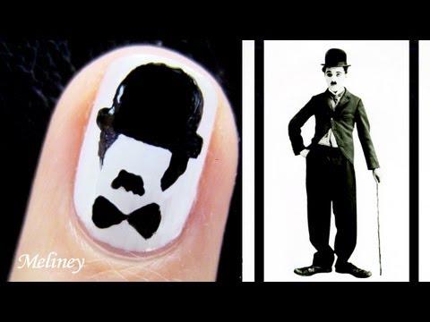 Movember Nail Art Tutorial - Charlie Chaplin Moustache Nail Design for Short Nails Comedy portrait