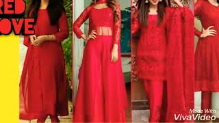 Lastest red colour dress || suits || red love || 2019