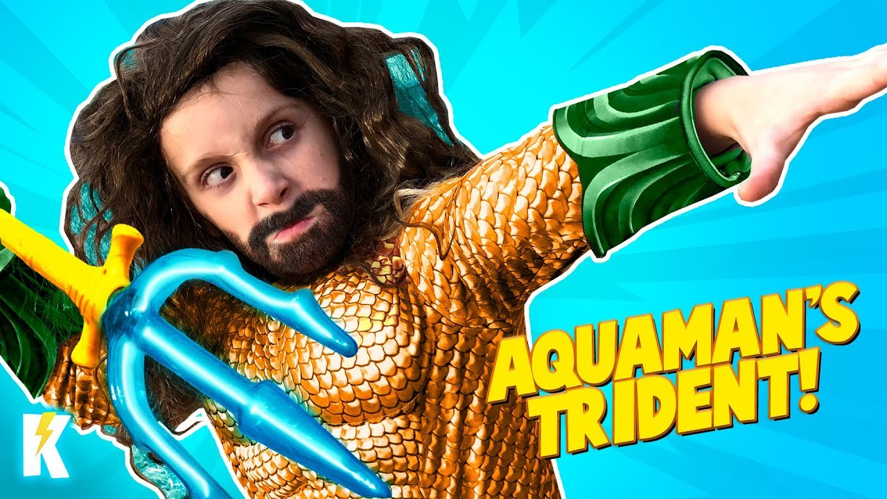 Aquaman Trident ???? Superhero Gear Test & Movie Toys Review for Kids! KIDCITY