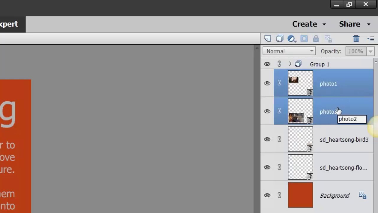 Photoshop layers how group to in