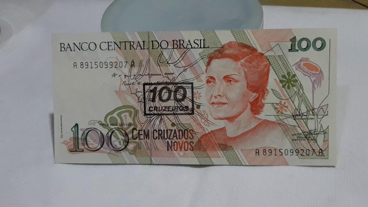 Cedula De 100 Cruzados Novos Vale 600 00 Reais Cecilia Meireles