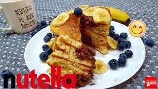 Tortitas Americanas Rellenas De Nutella | Pancakes Fáciles y Esponjosas | Hot Cakes de Nutella