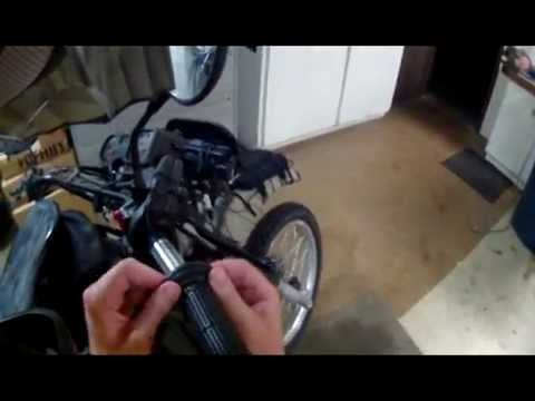 o#o TUSK Heated Grips & hand guards install on a KLR 650 Accessory Wire Part 3