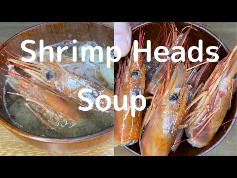 Shrimp Heads Soup. Cooking The Heads Of Red Shirmp And Sweet Shrimp.