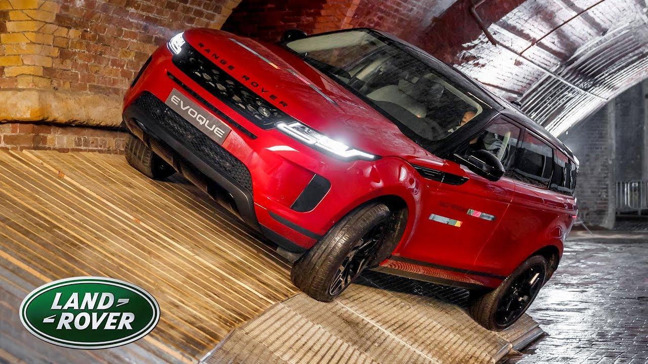 2020 Range Rover Evoque Firenze Red Underground Driving Stunt