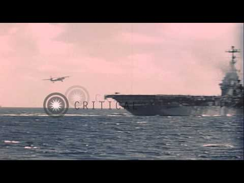 US Navy S2F aircraft land on flight deck of USS Lake Champlain, United States. HD Stock Footage
