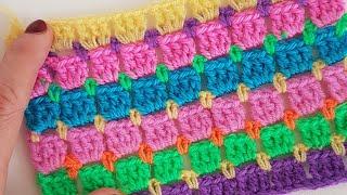 Basit Tığişi Battaniye Yastık/ Easy Block StitchCrochet Blanket, Cushion