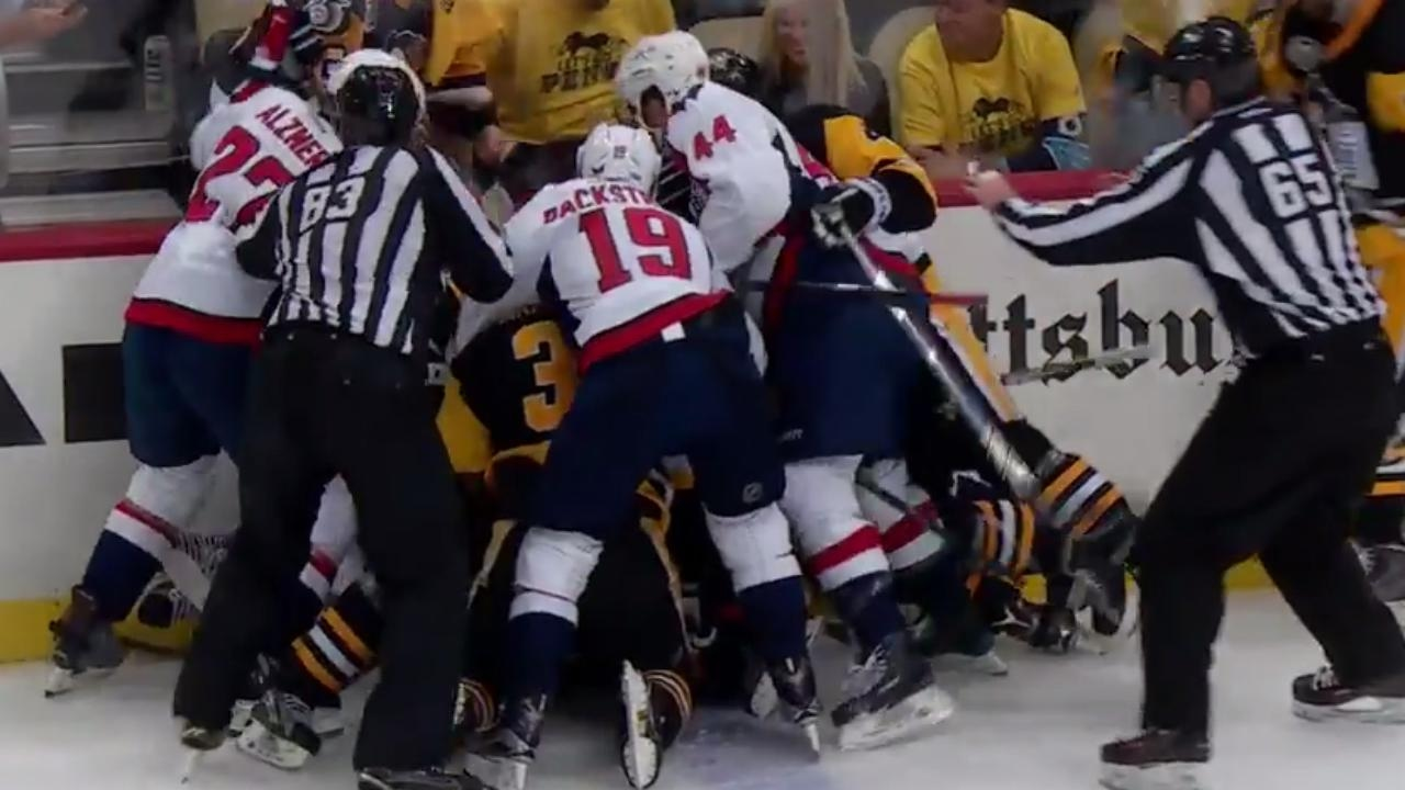 9df3a1bc7ea Tempers flaring between Penguins and Capitals in Game 3 - YouTube