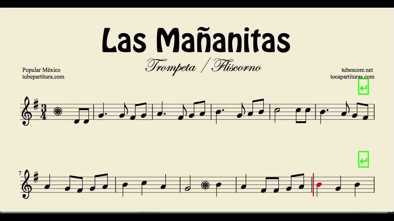 Las Mañanitas Sheet Music For Trumpet And Flugelhorn Youtube