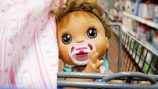 Shopping with Baby Alive Poops and Pees Doll and with a Reborn Baby Doll at Walmart