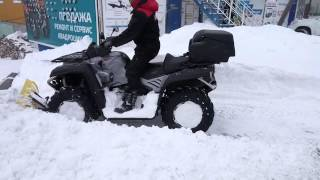 Уборка снега квадроциклом CFMOTO X8(Уборка снега во Владивостоке после сильного снегопада 19.01.2016., 2016-01-23T02:03:33.000Z)