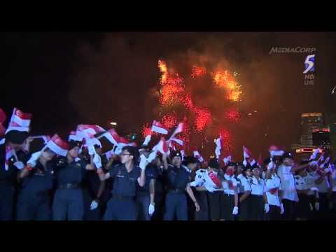 [1080p HD] National Day Parade 2014 - National Anthem - Fireworks(End)
