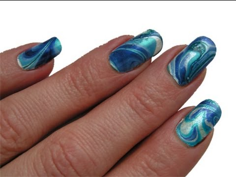 water marbling nail art tutorial blue/white easy step