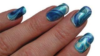 Water Marbling Nail Art Tutorial blue/white easy step by step deutsch DIY