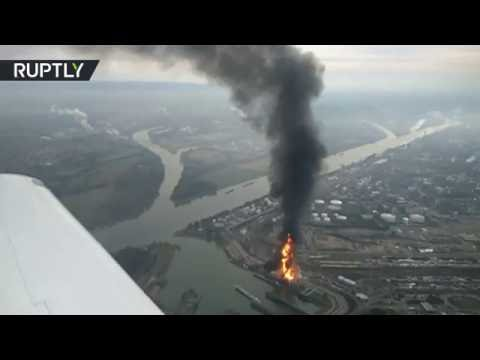 Massive fire engulfs German factory of world's largest chemicals producer BASF (Aerial view)