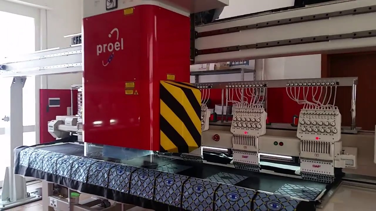 Dimostrazione nuovo ponte laser proel su macchina da ricamo