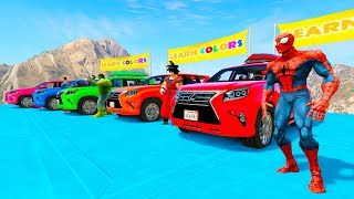 LEARN COLOR SUV CARS in RIVER Racing with Superheroes cartoon for babies