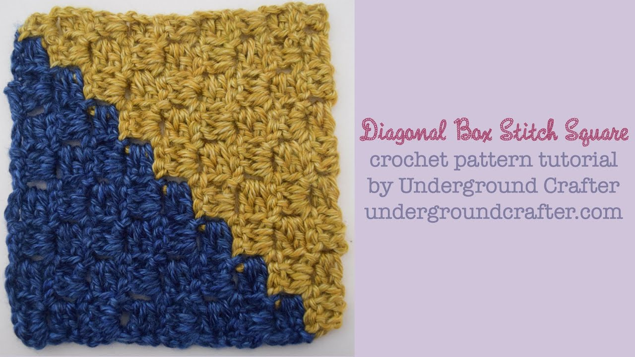 Diagonal Box Stitch Square Crochet Pattern Tutorial For Mystery