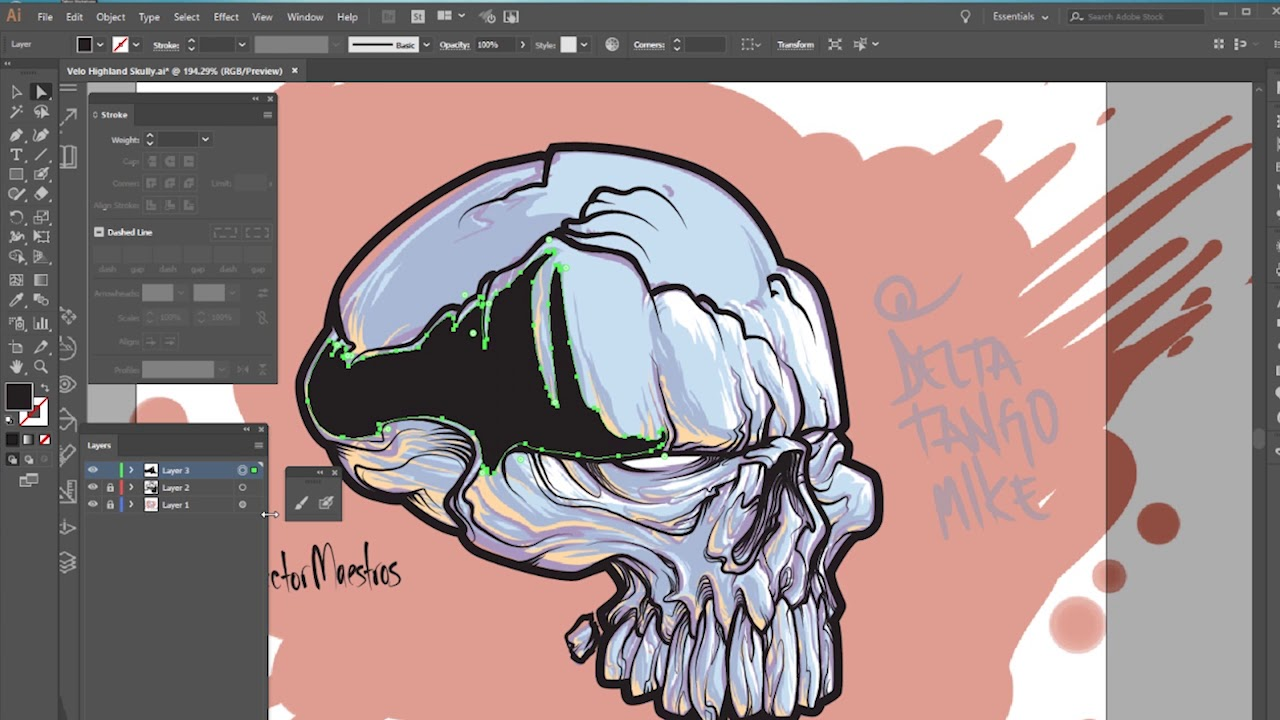 How To Smooth Drawing Lines In Illustrator : Skull drawing on adobe illustrator with paint brush and blob