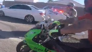 BIKE COP VS Motorcycle POLICE CHASE Street Bikes RUNNING From The COPS Get Away Las Vegas, NV 2016