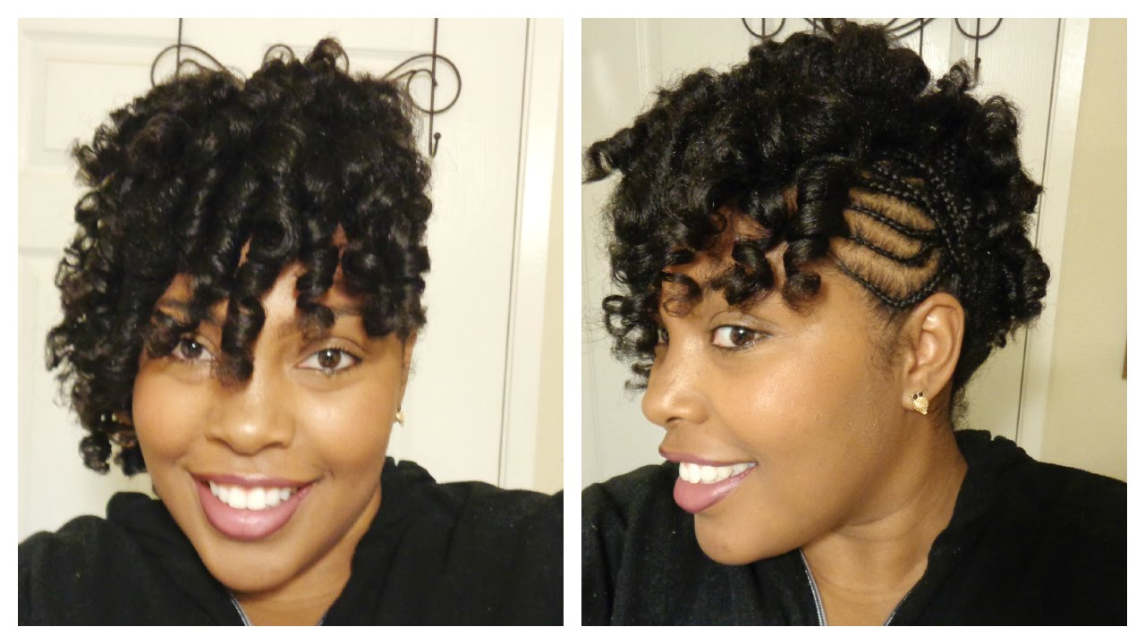 Perm Rods On Natural Hair With Cornrows On The Side Supa