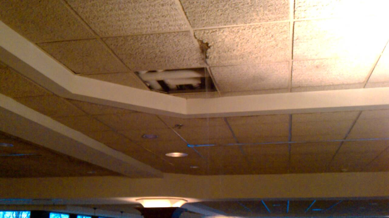 Leak From The Ceiling : Huge water leak and collapse of ceiling at the sheraton