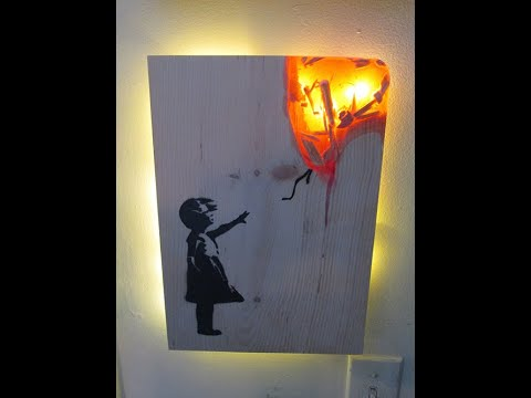 Banksy Inspired Wood And Resin Wall Art Lamp! Simple and Easy Craft Project!