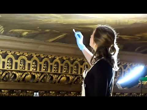 The painted hall, Greenwich: tour of the high ceiling while it is being cleaned.