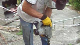 Drilling stone with a home made core drill