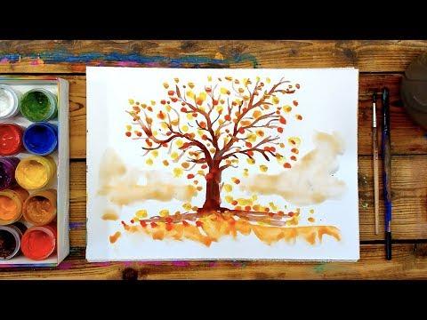 Как нарисовать осеннее дерево гуашью