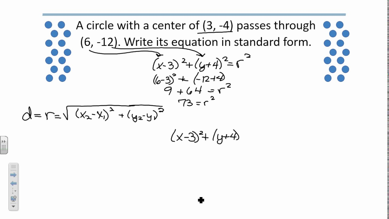 Worksheets Equations Of Circles Worksheet equation of circle in standard form image collections choice example ideas equations circles youtube equations
