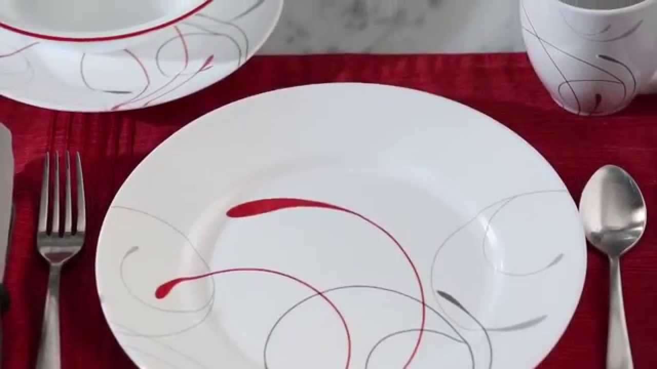 & Corelle - Impressions Splendor 16 Piece Dinnerware Set - YouTube