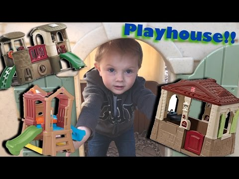 TODDLER PLAYS ON PLAYGROUND & IN STEP2 NEAT & TIDY COTTAGE PLAYHOUSE & LITTLE TIKES CASTLE! SLIDES!