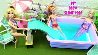 Video DIY GLOWING SLIME Pool With BARBIE Mermaids & Frozen's  ANNA | Rainbow Collector download MP3, 3GP, MP4, WEBM, AVI, FLV Agustus 2018