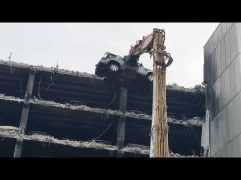 Day 2 of the Demolition of Echo arena Car park Liverpool