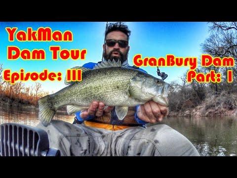 Kayak Fishing; Granbury Dam, Brazos River. Part 1.  YakMan Dam Tour