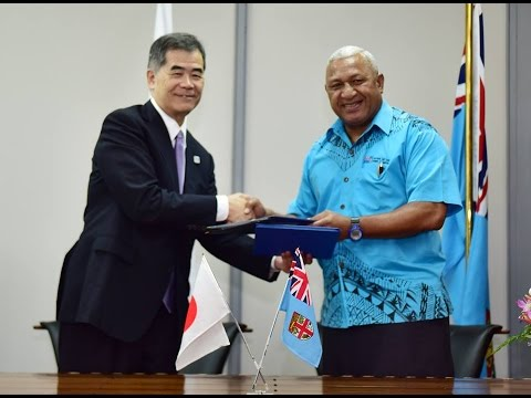Fijian Prime Minister officiates a MOU agreements with the Government of Japan.