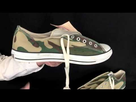 Vintage USA-MADE Converse All Star Chuck Taylor shoes sz 13 camouflage NOS! at collectornet.net