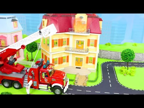 Garbage & Fire Truck, Tractor, Police Cars, Crane, Ambulance & Train Toy Vehicles For Kids