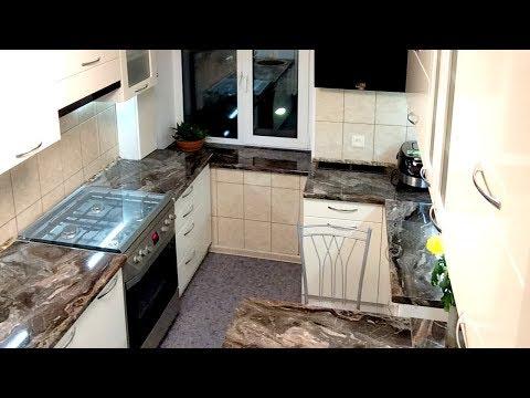Дизайн маленькой кухни. Современная П-образная кухня с окном