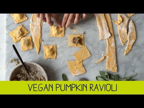 Vegan Pumpkin Ravioli Stuffed with Dee's Roast Garlic and Mushroom Sausages