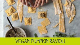 Vegan Pumpkin Ravioli Stuffed with Dees Roast Garlic and Mushroom Sausages