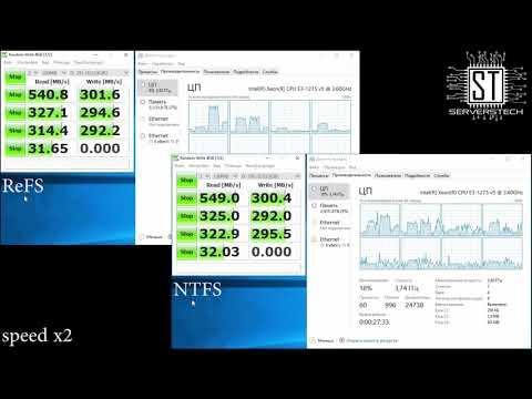ReFS vs NTFS (CrystalDiskMark, AS SSD Benchmark)