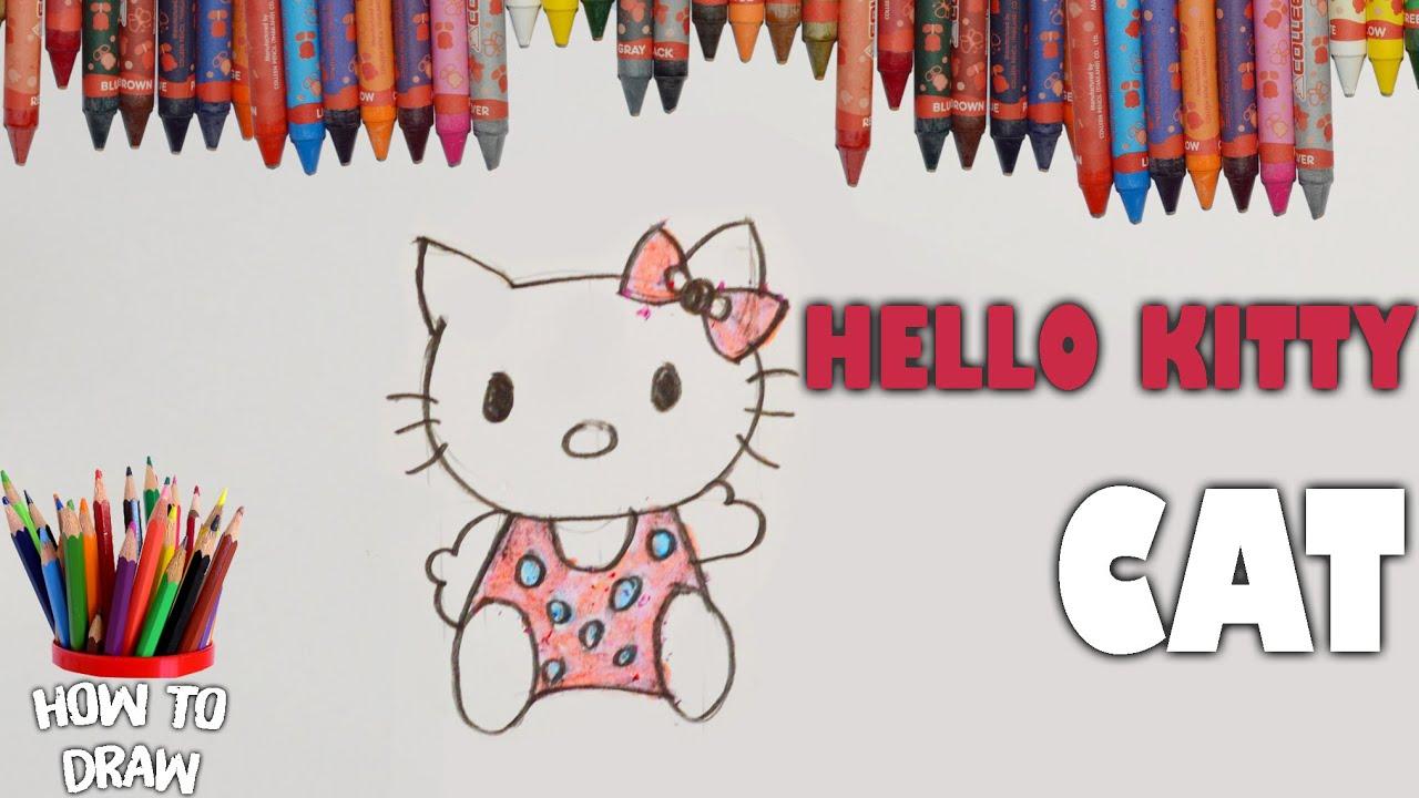 [BÉ HỌC VẼ ]cách vẽ mèo Hello Kitty I HOW TO DRAW HELLO KITTY CAT | JUST 4 Kids