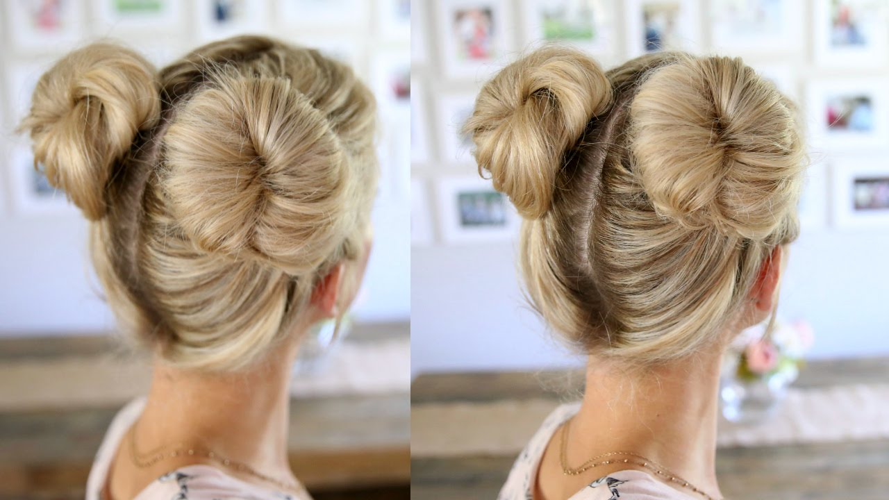 3 Easy Double Buns | Space Buns for Thin, Normal, & Thick Hair - YouTube