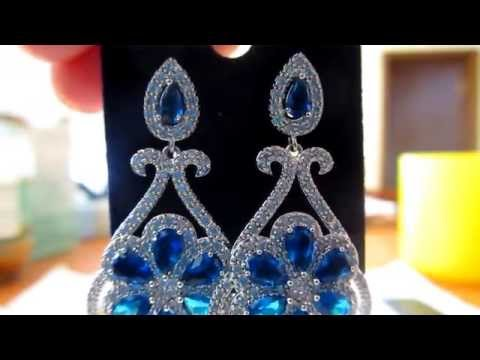 Luxury blue earrings for wedding / party. High quality Swiss Cubic Zirconia